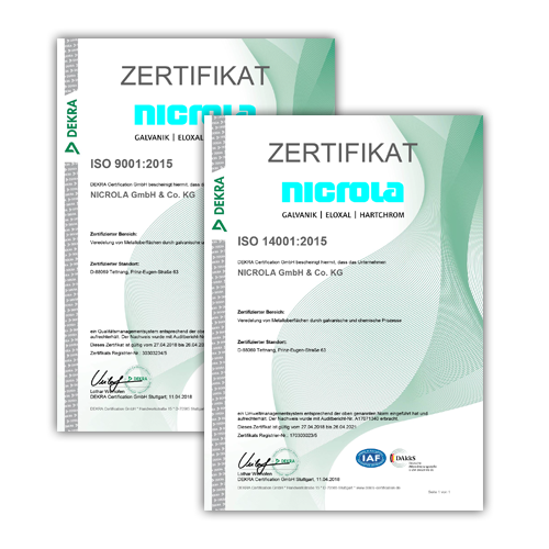 DIN ISO Zertifikate Nicrola GmbH &. Co. KG