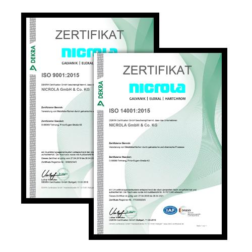 DIN ISO Zertifikate Nicrola GmbH &. Co. KG